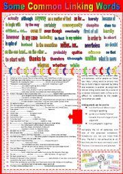 English Worksheet: Common linking words plus sample sentences + key.