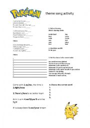 English Worksheet: Pokemon theme song activity