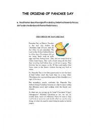 English Worksheet: The origin of pancake day