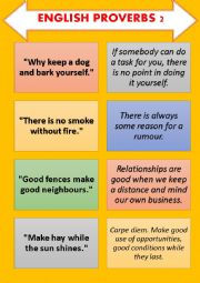English Worksheet: English Proverb-Explanation Cards SET 2 (5 pages)