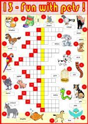 English Worksheet: 13. Fun with pets !  part 1 + KEY