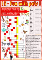 English Worksheet: 13. Fun with pets !  part 2 + KEY