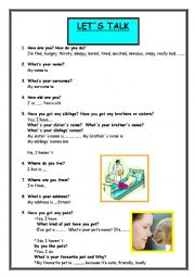 English Worksheet: 32 basic questions to know