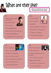 English Worksheet: What are they like ? (with the characters from Charlie and the chocolate factory)