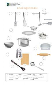 English Worksheet: Cooking utensils