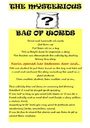 English Worksheet: A Mystery Bag of Words