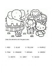 English Worksheet: Hello Kitty color