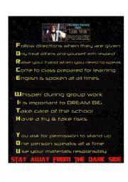 English Worksheet: Star wars rules