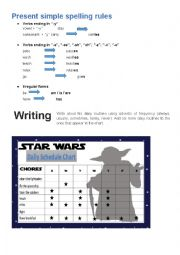 English Worksheet: star wars daily routine chart