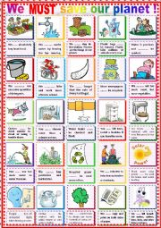 English Worksheet: We must save our planet !  (with must and mustn´t)