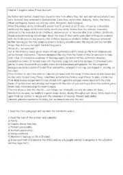 English Worksheet: Reading comprehension Chapter 1 Angela´s Ashes