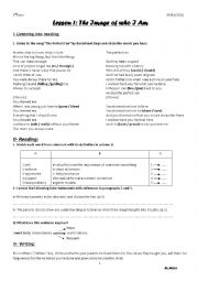 English Worksheet: Lesson 1- Second Form