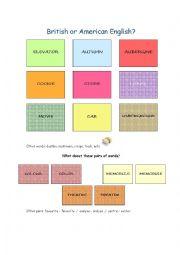 English Worksheet: British or American English?