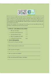 English Worksheet: Let�s save the Earth