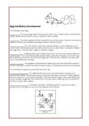 english worksheets hen egg and embryo development. Black Bedroom Furniture Sets. Home Design Ideas