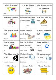 English Worksheet: Holiday Question Card Game