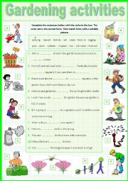 English Worksheet: Gardening Activities.