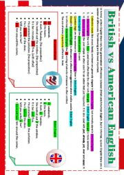 English Worksheet: BRITISH and AMERICAN ENGLISH - RULES AND EXERCISES