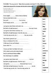 English worksheet: Song by Rihanna