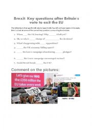 English Worksheet: Brexit: Key questions after Britain�s vote to exit the EU