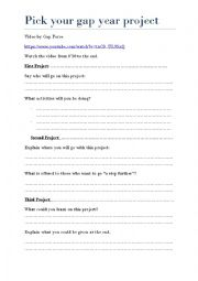 English Worksheet: Pick your gap year project