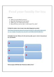 English worksheet: Feed Your Family for Less - VIDEO LESSON - Listening, speaking and writing.