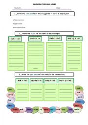 English worksheet: SIMPLE PAST CHART RULES