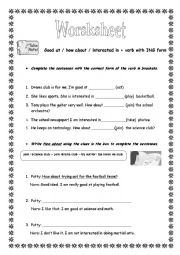 English worksheet: GOOD AT