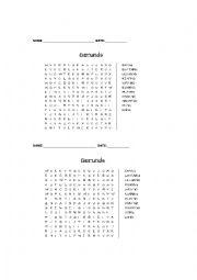 English worksheet: Gerunds Word Search