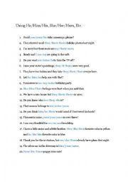 English worksheet: Practice With Pronouns
