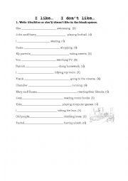 English worksheet: Like/Don´t like