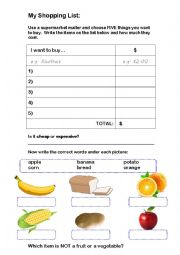 English Worksheet: My Shopping List