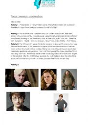 English worksheet: Harry Potter lesson plan for physical characteristics