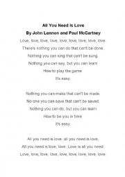 All You Need is Love Song Worksheet by The Beatles