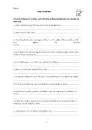 English Worksheet: How much do you know about King Arthur?
