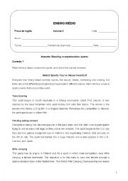 English Worksheet: Reading about weird sports all over the world