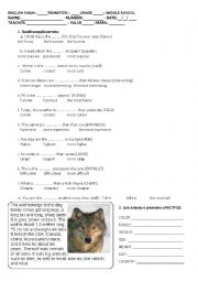 English Worksheet: TEST ON ANIMAL PROFILE AND COMPARATIVES