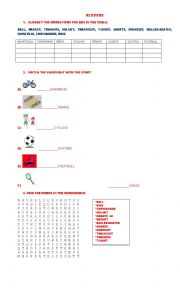 English Worksheet: sports equipment