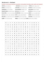 FEELINGS - WORDSEARCH with explanations