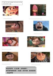 English worksheet: Despicable me - feelings activity