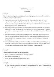 Evelyne short story activity sheet