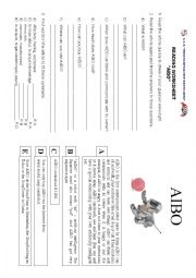 English Worksheet: Cyber pet AIBO