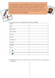 English Worksheet: Reading Comprehension Lebron James Basketball