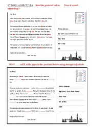 English Worksheet: STRONG ADJECTIVES - anything is better than nice!