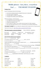 English Worksheet: Mobile phones and the right to know