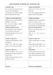 English Worksheet: B2 SPEAKING CARDS