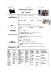 English Worksheet: How to write a film review