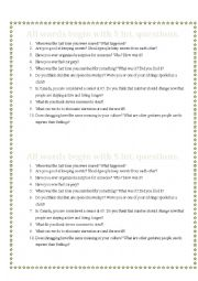 English Worksheet: All the words begin with S int. Questions
