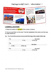 English Worksheet: Visiting Cardiff: cardinal points