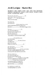 Skater Boy - listenign activity worksheet